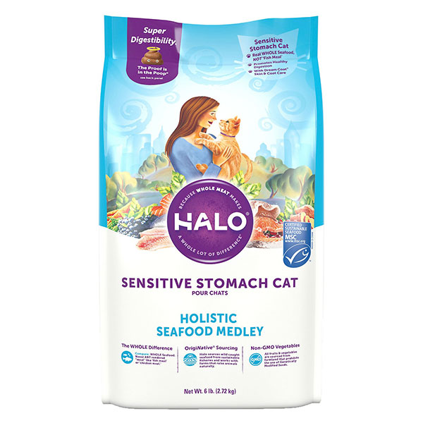 Halo Holistic Seafood Medley Sensitive Stomach Dry Cat Food