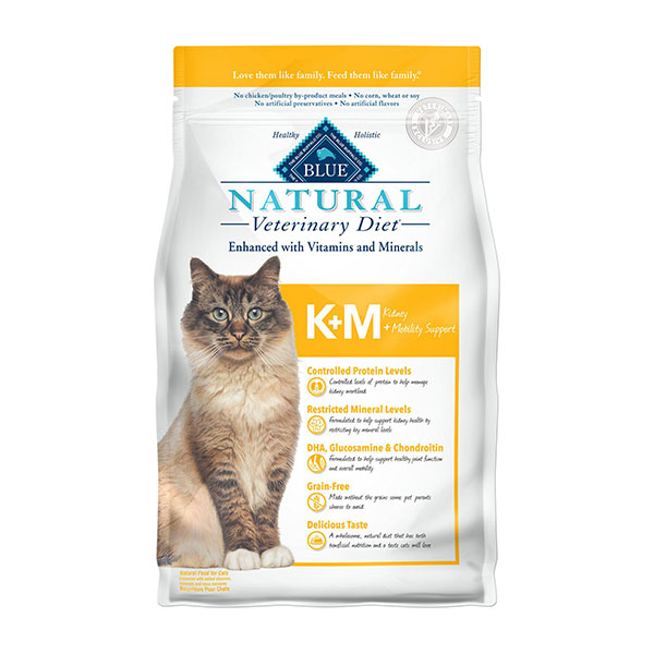 Blue Buffalo Natural Veterinary Diet K+M Kidney + Mobility Support Grain-Free Dry Cat Food