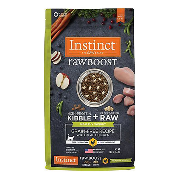 Instinct Raw Boost Healthy Weight Grain-Free Chicken & Freeze-Dried Raw Coated Pieces Recipe Dry Cat Food